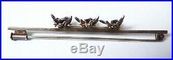 Broche ancienne en ARGENT massif avec mouches insecte silver brooch