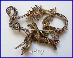 Broche vermeil argent massif filigrane oiseau ancien Portugal silver brooch