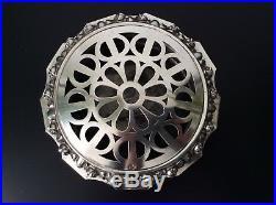 Brûle-parfum argent massif 833 Portugais décor floral repoussé Art Déco 737 gr
