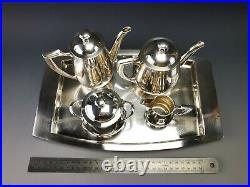 CHRISTOFLE Superbe service à Thé/Café égoïste art deco métal argenté 5 pièces