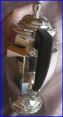 CHRISTOFLE Théière métal argenté & ébène Style art déco à pans & frise à godrons