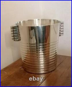 CHRISTOFLE par Luc LANEL Seau à champagne art déco métal argenté