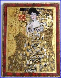 Cadre Ancien Art Deco Peinture Huile Repro Klimt (feuilles Or Et Argent)