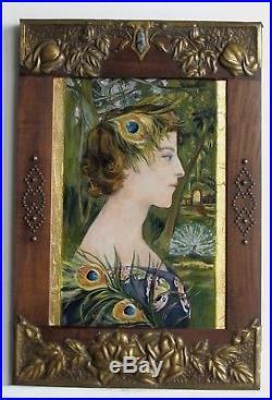 Cadre Art Deco Peinture Huile Portrait De Femme Feuille Or Et Argent