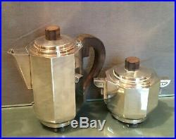 Cafetière ou théière et sucrier en métal argenté ébène macassar design Art déco