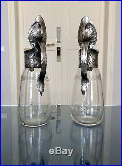 Carafe Aiguière Art Déco en régule argenté et cristal Art Nouveau