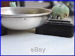 Cendrier 1930 Art Déco Argent, Jade Et Ébène Style Cartier Jade Silver Ashtray