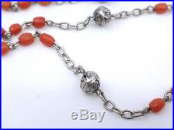 Chapelet ancien en argent massif et perles de corail rouge Art Deco