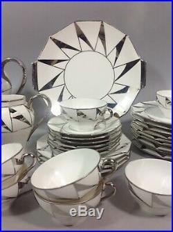Chic service Thé Café Dessert ART DÉCO Porcelaine fine Limoges Vers 1930 Argent