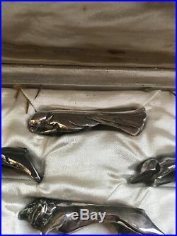 Christofle Gallia Sandoz 12 Portes Couteaux Metal Argente Art Deco Rests Knife