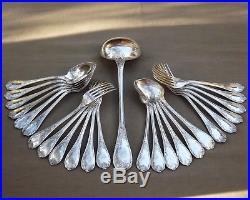 Christofle Modele Marly Menagere Louis XV 25 Pieces En Metal Argente Vers 1950