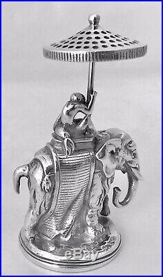 Christofle Porte Cure Dent Singe Et Elephant En Bronze Argenté Art Déco