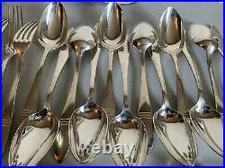Christofle ménagère Art Deco en métal argenté 37 pièces couverts