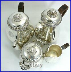Christofle service à thé/café Art Déco, 4 pièces modèle à Godrons métal argenté