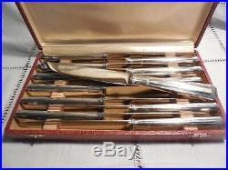 Coffret 12 Couteaux Metal Argente Art Deco Orfevre Bb Bouillet Bourdelle Lyon