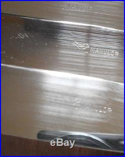 Coffret 12 Couteaux table vintage métal argenté style art déco modèle Grand Prix