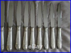 Coffret 12 couteaux de table métal argenté & inox grand prix style art déco