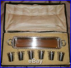 Coffret à liqueur 6 timbales argent massif & vermeil + plateau métal argenté