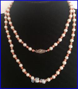 Collier Ancien Art Déco Perle et Corail, Fermoir En Argent Massif