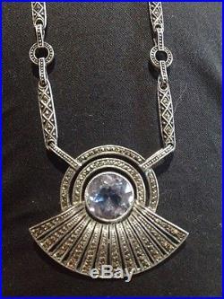Collier Chaîne Argent Massif 925 Bijoux Ancien Art Deco
