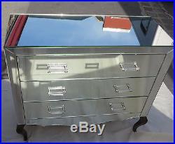 Commode art deco miroir 3 tiroirs 6 poignées verre bagues argentées