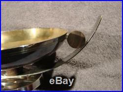 Coupe Art Deco Metal Argente Et Palissandre