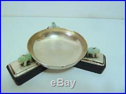 Coupe baguier Art Deco Argent Massif Jade ébène 1920 1930 st Cartier Moderniste