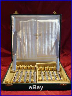 Couteaux table et dessert Art-déco manches argent massif Christofle 1935
