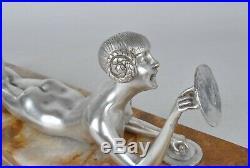 D H Chiparus, jeune femme aux cymbales, bronze argenté, art déco 20eme siècle