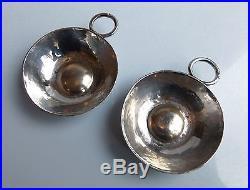 DESPRES Jean (1889-1980) 2 taste-alcool Art Deco métal argenté signés