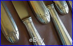 DIXI 12 couteaux de table + 11 couteau à fromage art déco en métal argenté