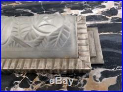 Degue Paire D Appliques Verre Presse Moule Et Metal Argente Art Deco 1930 (2/2)