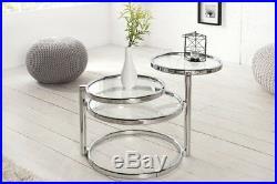 Design Table Basse Rond Chrome en Argent D'Appoint Repro Art Déco Neuf