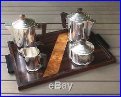 ERCUIS SERVICE A THE CAFE ART DECO 5 PIECES METAL ARGENTE & BOIS PRECIEUX Ca1930