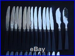 Écrin 26 couteaux ART DECO, 12 table 12 dessert, +2, ébène et argent, état neuf