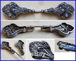Epingle épingle broche ART DECO argent massif + strass silver pin