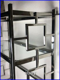 Etagère / bibliothèque de style Art Déco Boston alu chromé et plateau de verre