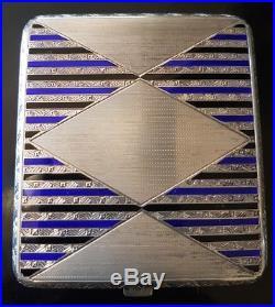 Etui CIGARETTES EN ARGENT MASSIF POINCON 900 emaux art deco email silver case