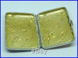Etui à cigarettes ancien art déco argent massif vintage solid silver case