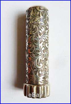Étui tube baton de rouge à lèvres ARGENT massif Art Deco 1925 Sterling