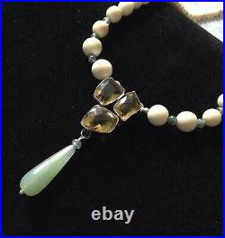 Exceptionnel Ancien Collier Citrine, Jade, Os, Argent Massif, Art Deco