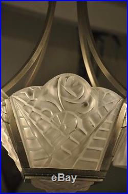Exceptionnel Lustre Art Deco Signe Degue Tulipes Plaques No Muller French Lamp