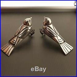 F. H DANVIN Paire d'oiseaux en bronze argenté ART DECO. Serre-livre