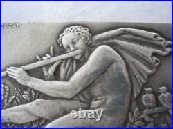 GEORGES CROUZAT Broche ARGENT MASSIF Jeune homme nu jouant flute ART DECO 1930