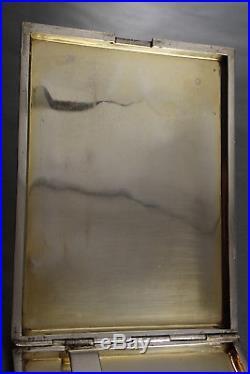 GRANDE BOITE ETUI à CIGARETTE ARGENT MASSIF VERMEIL ART DECO GUILLOCHE ART DECO