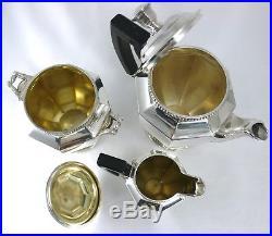 Gallia, beau service à thé, 3 pièces Art Déco, métal argenté excellent état