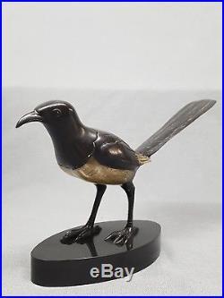 Georges Lavroff La Pie Bronze Art Deco Patine Noir Et Argent Signe Animalier