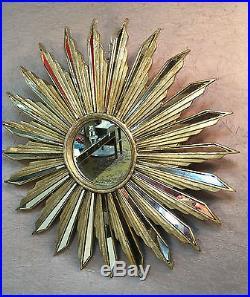 Glace / miroir soleil argenté à baguettes de résine et miroirs Diamètre 71 cm