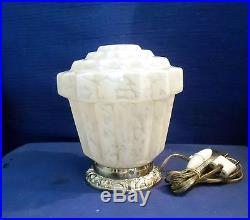 Globe Lampe Plafonnier Moderniste Art Deco Verre Clichy Socle Bronze Argente