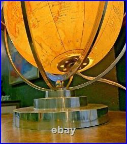 Globe terrestre Reveto art deco Forest-bronze nickelé-globe lumineux en verre